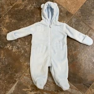 Baby Boy Hooded Footed Faux Fur Bunting Snowsuit
